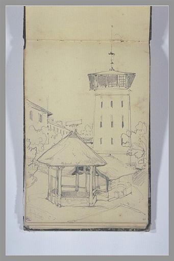 ISABEY Eugène : Lavoir (?) devant une tour, d'autres bâtiments et des arbres