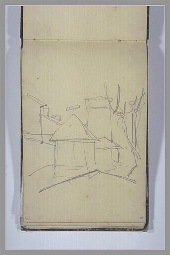 ISABEY Eugène : Esquisse d'un lavoir (?) devant une tour et d'autres bâtiments