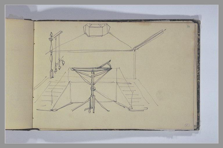 ISABEY Eugène : Cric dans une pièce avec un escalier, reprise de la rambarde