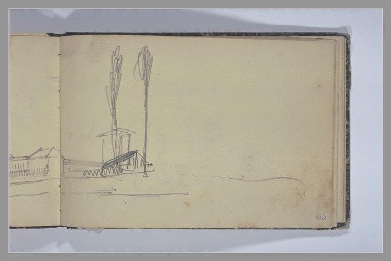 ISABEY Eugène : Partie droite d'un édifice derrière deux arbres