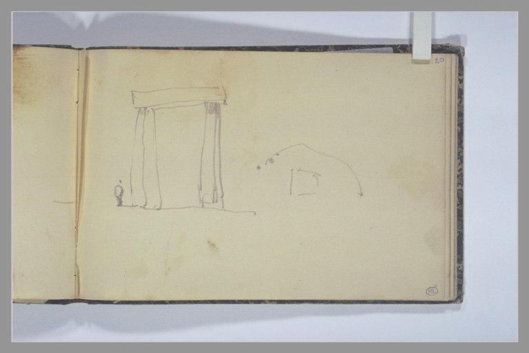 ISABEY Eugène : Fragment de l'élévation et du plan du cromlech de Stonehenge