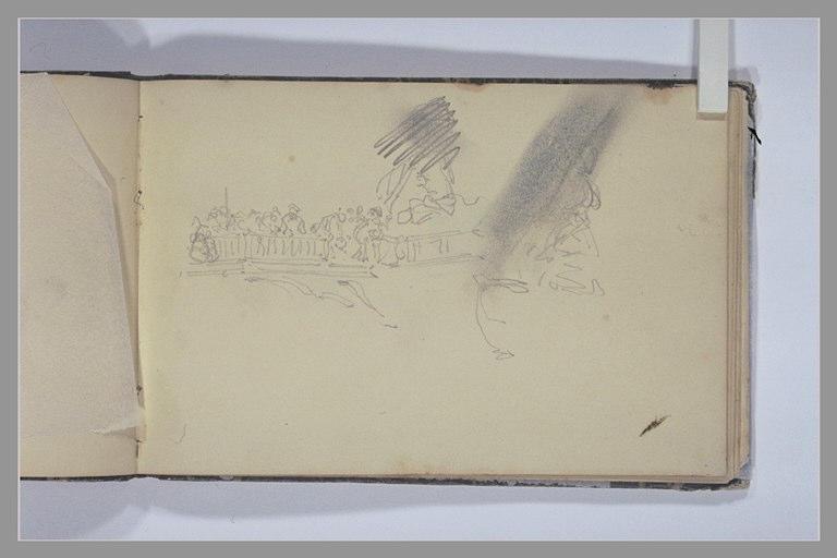 ISABEY Eugène : Figures près d'une balustrade, reprisses de certaines figures (biffées)