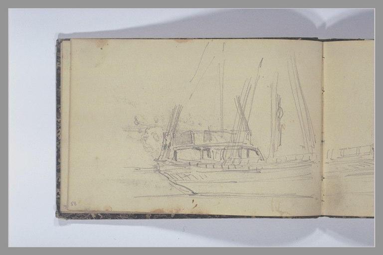 ISABEY Eugène : Proue d'un voilier, à quai