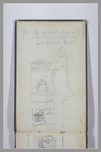 ISABEY Eugène : Note manuscrite, petite fille debout près d'un poêle, croquis