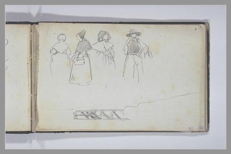 ISABEY Eugène : Trois femmes et un homme en costume traditionnel, escalier dans un phare