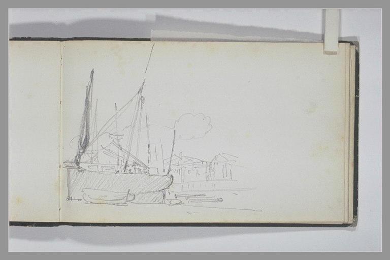 ISABEY Eugène : Chalutier et une barque tirés au sec