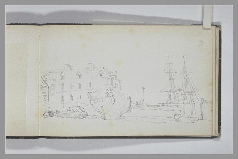 ISABEY Eugène : Port avec deux barques et une coque de bateau à sec