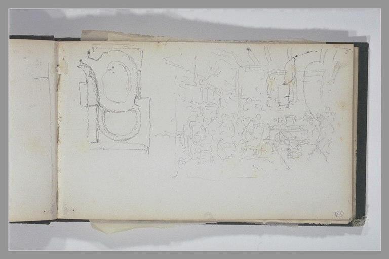 ISABEY Eugène : Plan d'un jardin, figures dans un intérieur (scène de taverne ?)