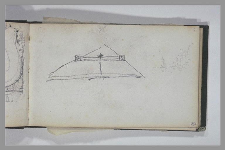 ISABEY Eugène : Triangle, ou pyramide en élévation, esquisse d'un paysage