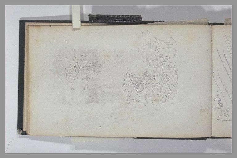 ISABEY Eugène : Cavalier, personnages au pied d'un escalier