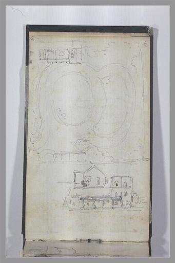 Plan d'un jardin ; plan d'une maison ; élévation d'un édifice_0