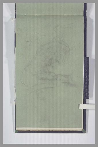 Femme nue, agenouillée, ajustant sa coiffure ; décharge du folio suivant