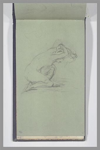 ISABEY Eugène : Femme nue, un genou à terre, ajustant sa coiffure