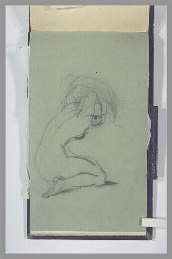 ISABEY Eugène : Femme nue, agenouillée, ajustant sa coiffure
