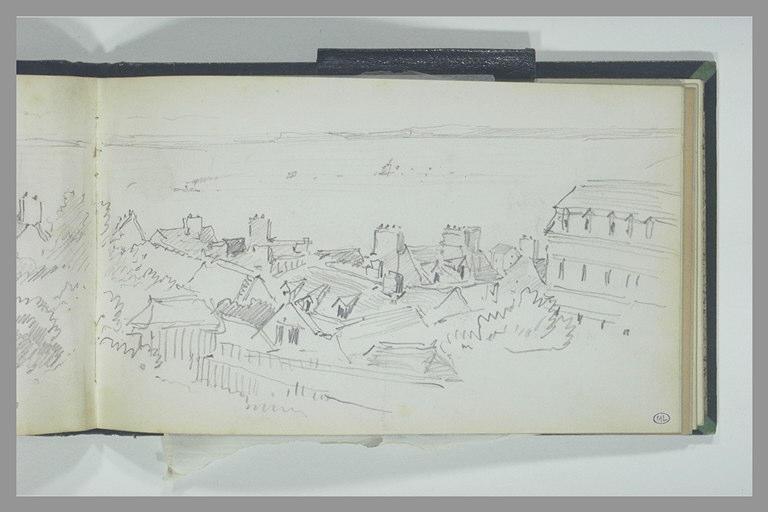 ISABEY Eugène : Vue panoramique des toits d'une ville au bord de la mer