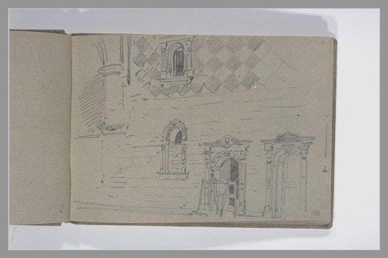 ISABEY Eugène : Façade avec deux portes et deux fenêtres (du manoir d'Ango ?)