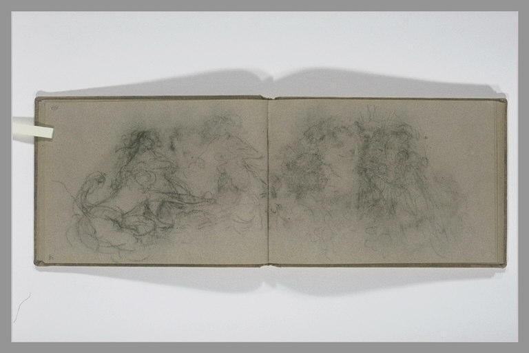 ISABEY Eugène : Etudes enchevetrées de figures, décharge du folio suivant