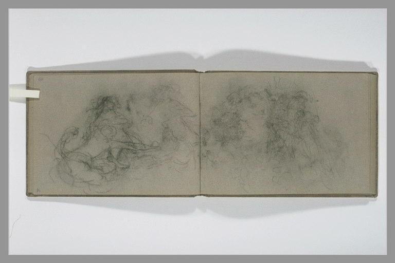 ISABEY Eugène : Trois femmes, vues à mi-corps, dans les flôts (nymphes marines ?)