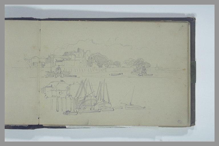Deux vues d'un port à marée basse