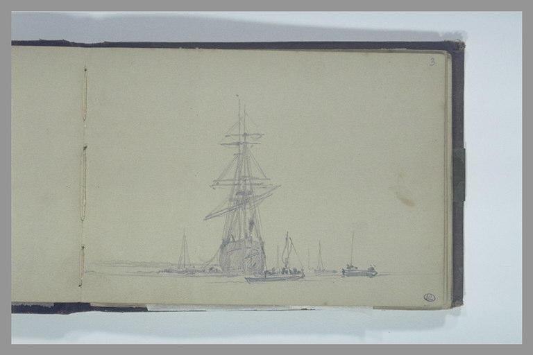 ISABEY Eugène : Un deux-mâts, vu de face, entouré de petits bateaux