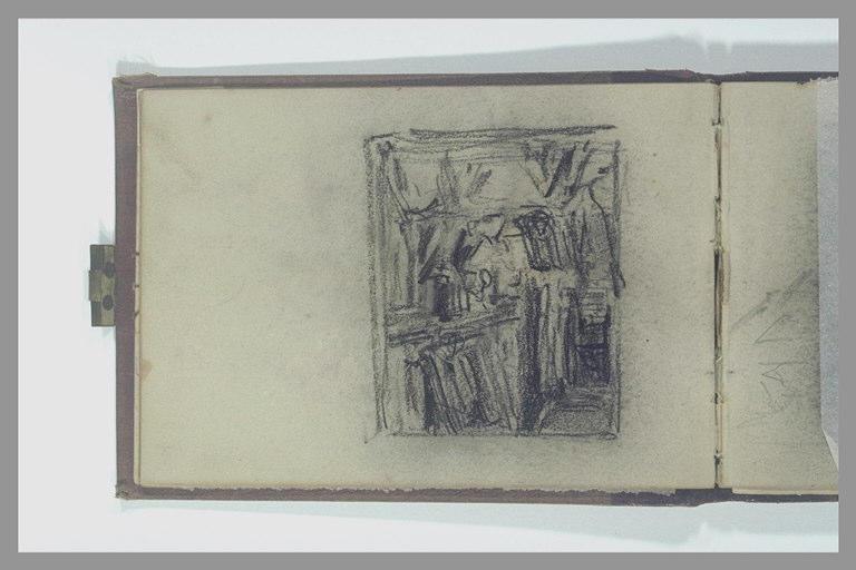 ISABEY Eugène : Dessin de composition : vue d'un intérieur