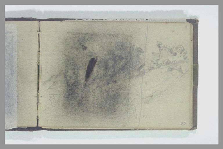 Paysage maculé par la décharge du dessin précédent