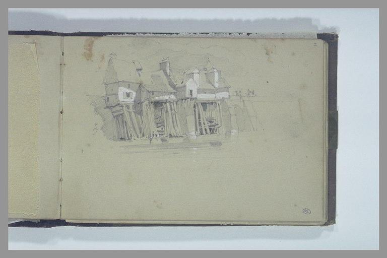 ISABEY Eugène : Trois maisons au bord de l'eau près d'une digue : moulins à eau (?)