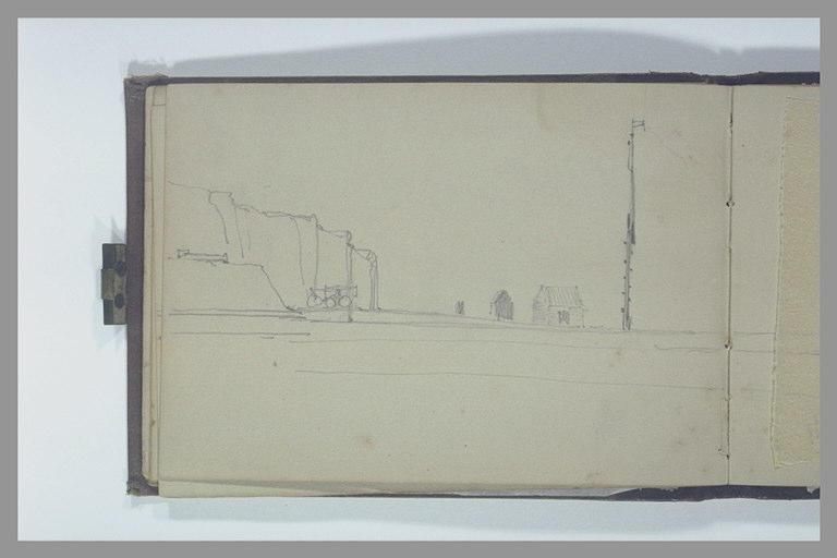 ISABEY Eugène : Plage au pied d'une falaise avec un mât et deux cabanes