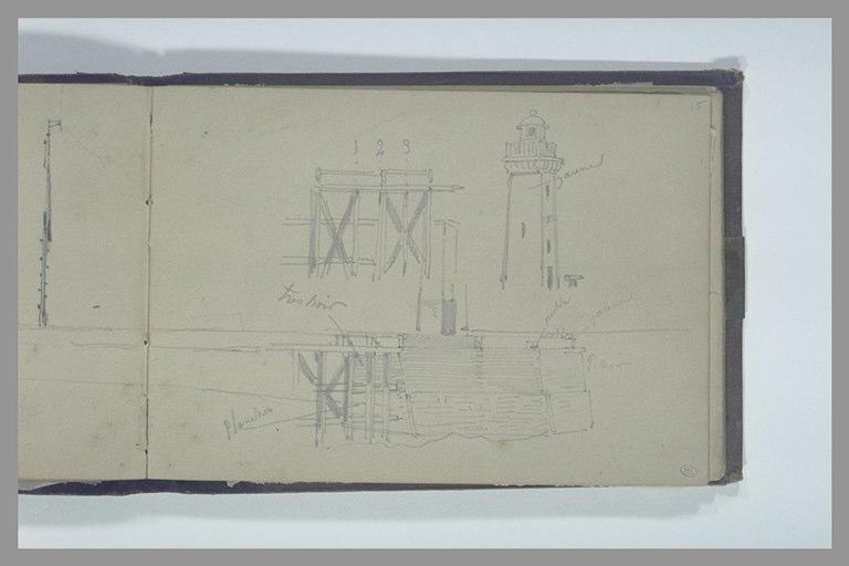 Phare au bout d'une digue ; détails du ponton en charpente et de la tour