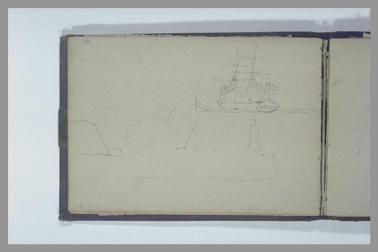 ISABEY Eugène : Digue avec un phare près d'une falaise, étude d'un voilier à deux mâts