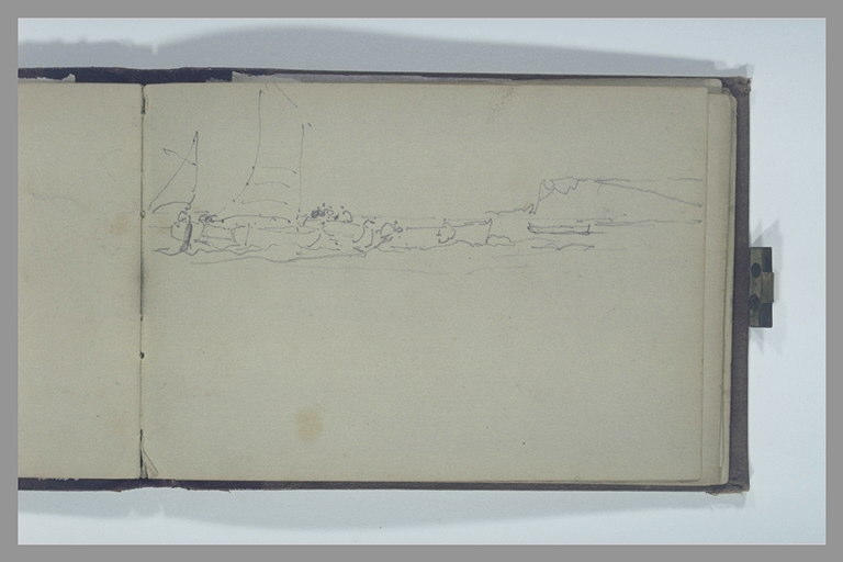 ISABEY Eugène : Deux voiliers et trois autres bateaux auprès d'une falaise