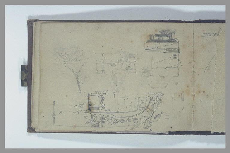 Yacht vu par la poupe ; détail du château arrière, et de deux autres motifs