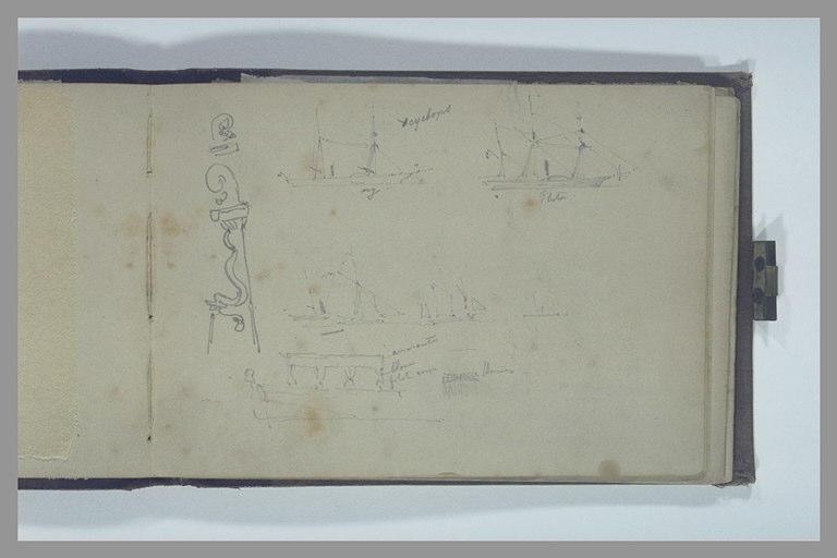 ISABEY Eugène : Le Cyclope, le Pluton, et d'autres navires, détails d'un safran