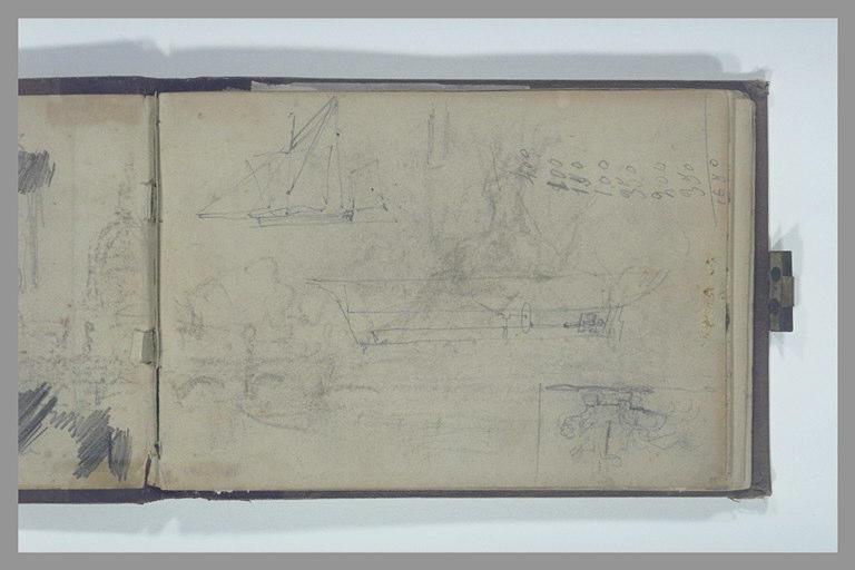 ISABEY Eugène : Coupe d'un bateau, esquisse de deux voiliers, addition, arche d'un pont