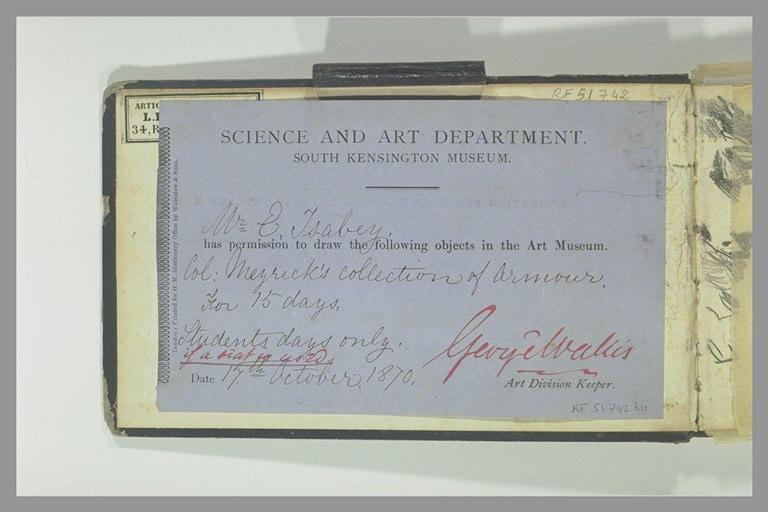 ISABEY Eugène : Autorisation de copie pour les armures de la collection Meyrick
