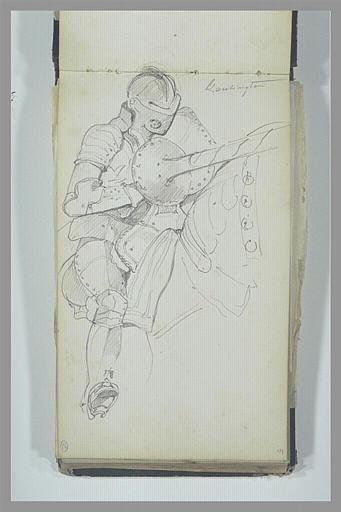 Chevalier en armure, sur sa monture, tenant une lance_0