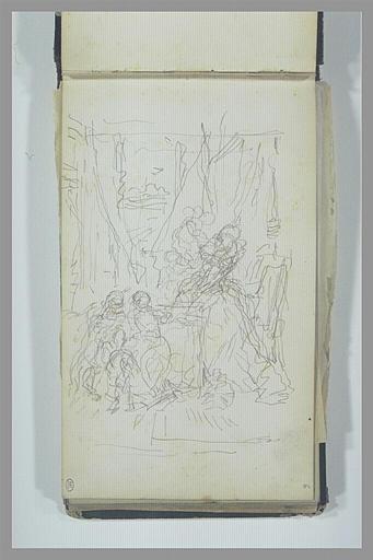 Scène historique avec une femme en robe du XVIIe siècle et des personnages_0