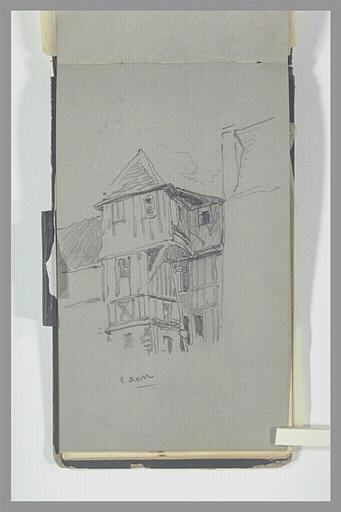 ISABEY Eugène : Maison à colombage, à Caen