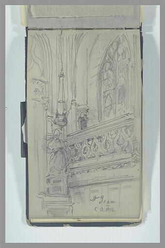 Galerie, statues et fenêtre haute de l'église Saint-Jean, à Caen_0