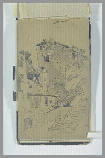 ISABEY Eugène : Ancienne tour et vieilles maisons près d'un escalier, au Mans