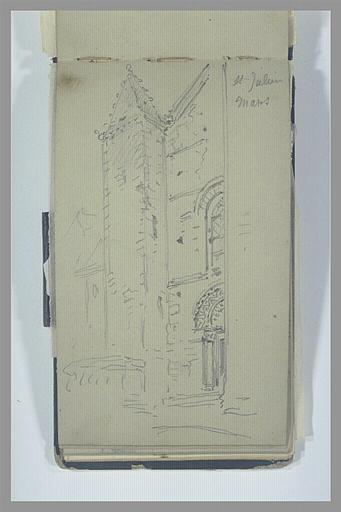 Vue de la moitié de la façade de la cathédrale Saint-Julien, au Mans