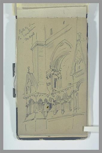 ISABEY Eugène : Vue partielle de la façade de l'église de la Couture, au Mans