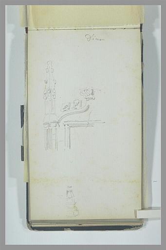 ISABEY Eugène : Pinacle et la moitié d'un arc en accolade, base d'une colonnette, à Dinan