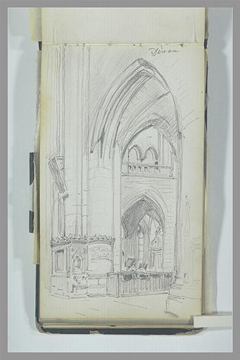 Vue laterale du choeur d'une église gothique, à Dinan
