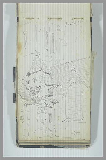Vue exterieur de la croisée du transept d'une église, à Pontorson