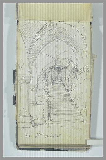ISABEY Eugène : Arcade et escalier au Mont-Saint-Michel
