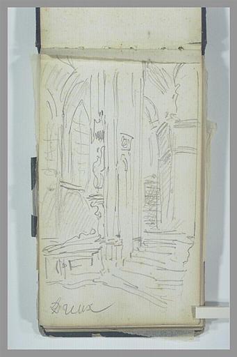 ISABEY Eugène : Vue de l'intérieur d'une église, à Dreux