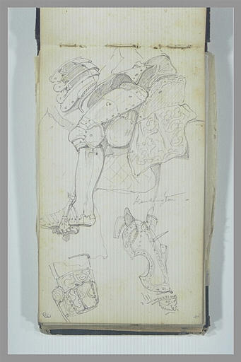 ISABEY Eugène : Etude d'armure : jambe du chevalier, tétière et muselière du cheval