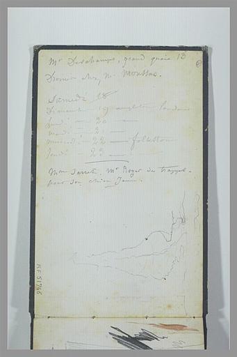 ISABEY Eugène : Calendrier et itinéraire en Angleterre, croquis