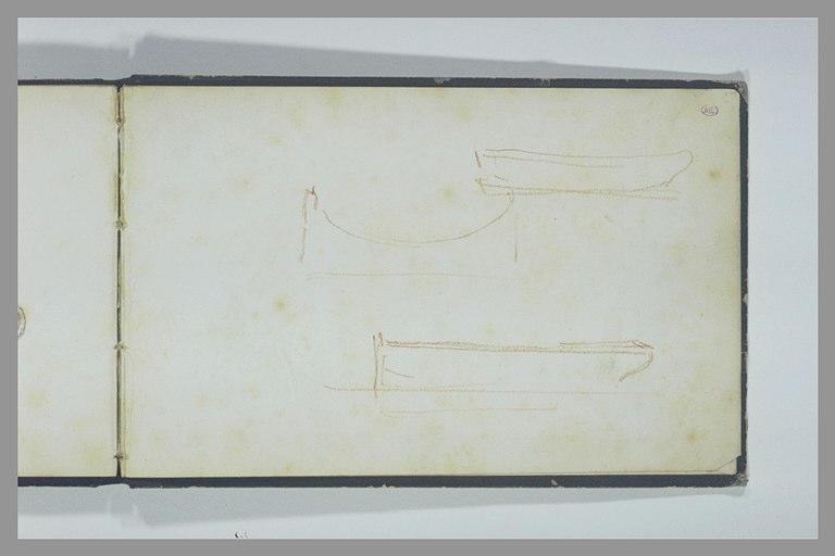Deux esquisses de la coque d'un bateau vu de profil ; profil d'un berceau